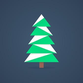 Ikona choinki ze śniegiem. koncepcja sylwetki choinki, świerka, imprezy rodzinnej, szopki. choinka na białym tle na ciemnym tle. płaski trend nowoczesny projekt logo ilustracja wektorowa