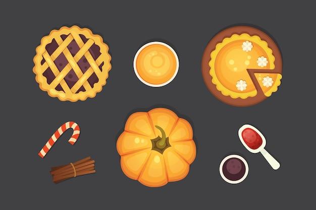 Ikona ciasto jagodowe i dyni na białym tle. ilustracja święto dziękczynienia.
