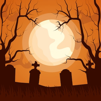 Ikona ciemny cmentarz halloween