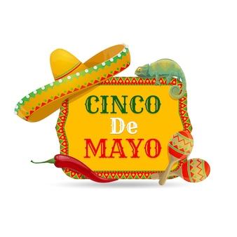 Ikona cinco de mayo z tradycyjnymi meksykańskimi symbolami kapelusz sombrero