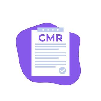 Ikona cmr, wektor dokumentu transportowego