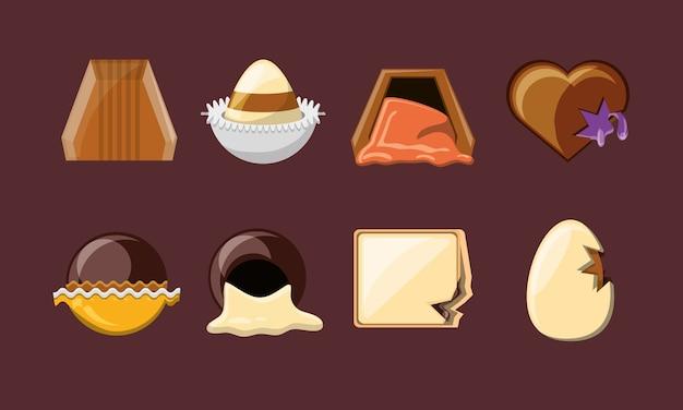 Ikona cukierki czekoladowe na brązowym tle