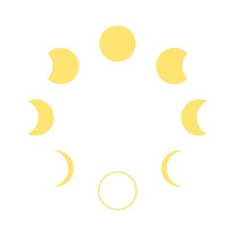 Ikona cyklu zmiany fazy księżyca kalendarz księżycowy graficzna żółta forma transformacji księżyca