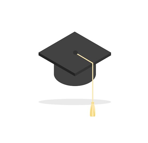 Ikona czapka licencjata kapelusz edukacyjny w modnym stylu płaski wektor ilustracja na białym tle