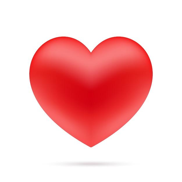 Ikona czerwone serce z cieniem, na białym tle na białym tle.