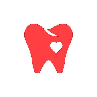 Ikona czerwony ząb z sercem. koncepcja ochrony, opieki zdrowotnej, identyfikacji wizualnej, szpitala, protezy, wybielania. na białym tle. płaski trend w nowoczesnym stylu projektowania ilustracji wektorowych