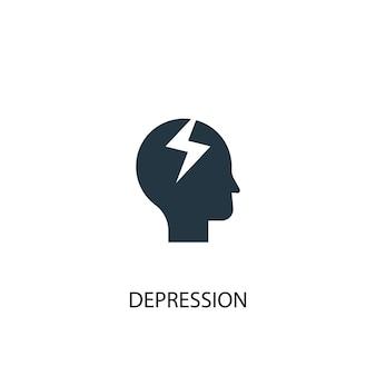 Ikona depresji. prosta ilustracja elementu. projekt symbolu koncepcji depresji. może być używany w sieci i na urządzeniach mobilnych.
