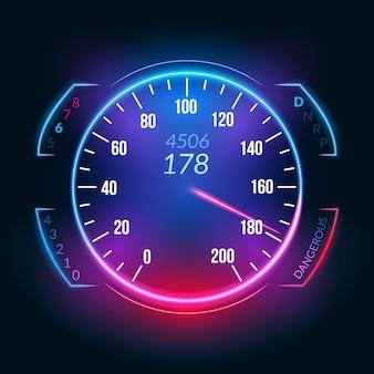 Ikona deski rozdzielczej prędkościomierza samochodu. panel pomiarowy do pomiaru prędkości w technologii szybkiego wyścigu.