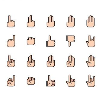 Ikona dłoni i zestaw symboli
