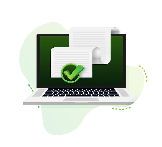Ikona dokumentów. stos arkuszy papieru. potwierdzony lub zatwierdzony dokument. czas ilustracja wektorowa.