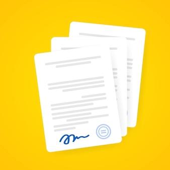 Ikona dokumentu. dokumenty papierowe z podpisem i tekstem, pomysł na umowę. potwierdzony lub zatwierdzony dokument. wektor na na białym tle. eps 10
