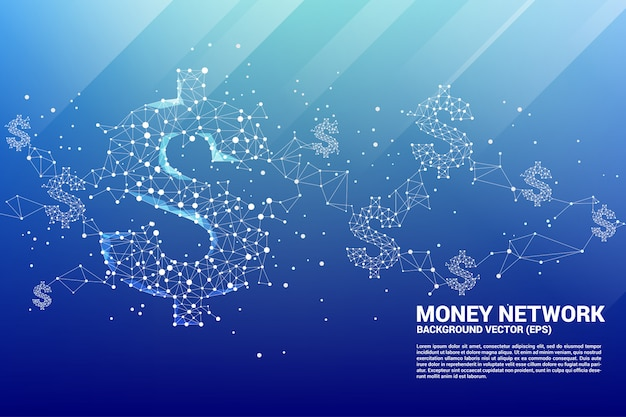 Ikona dolar pieniądze wektor z linii kropka polygon