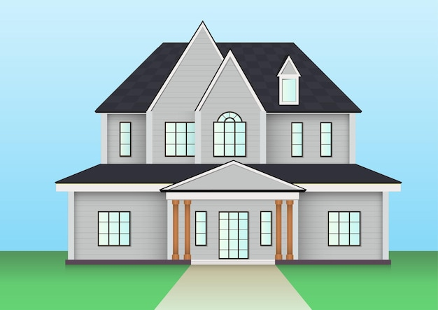 Ikona domu amerykańskiej farmy. ilustracja wektorowa