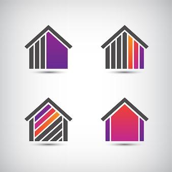 Ikona domu na białym tle, zestaw