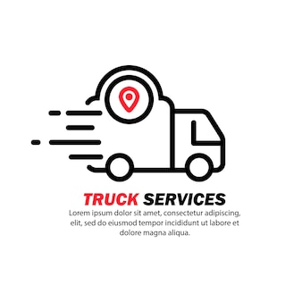 Ikona dostawy ciężarówki. ekspresowa przeprowadzka, usługa transportowa. znak lokalizacji. wektor na na białym tle. eps 10.
