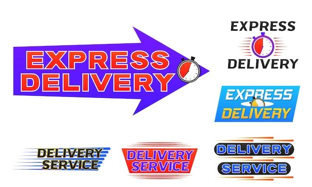 Ikona dostawy logo baner ekspresowa dostawa dla aplikacji i strony internetowej szybka wysyłka z wektorem timera