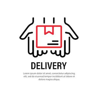 Ikona dostawy. ręce z pudełkiem. zamówienie. szybka obsługa. koncepcja biznesowa. wektor na na białym tle. eps 10.
