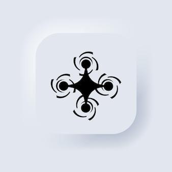 Ikona drona w kolorze czarnym. znak quadkoptera. logo drona. biały przycisk sieciowy interfejsu użytkownika neumorphic ui ux. neumorfizm. wektor eps 10.