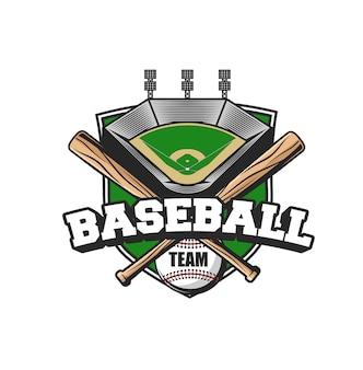 Ikona drużyny sportów baseballowych. piłka, skrzyżowane nietoperze i stadion. baseballista baseball