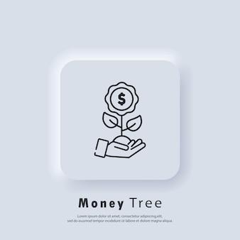 Ikona drzewa pieniędzy. wzrost pieniądza. inwestować pieniądze. sukces w biznesie. koncepcja gospodarki rosnącej. wektor. ikona interfejsu użytkownika. biały przycisk sieciowy interfejsu użytkownika neumorphic ui ux.