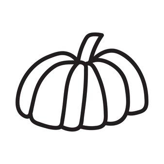 Ikona dyni czarno-białe. doodle szkic dyni. ilustracja wektorowa zarys warzyw. prosty obraz monochromatyczny. ręcznie rysowane ilustracja tuszem