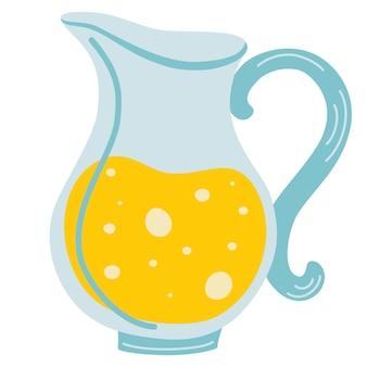 Ikona dzbanek soku lemoniady. ilustracja kreskówka dzban soku z cytryny. świeży sok. zdrowy napój. płaska konstrukcja ilustracji wektorowych