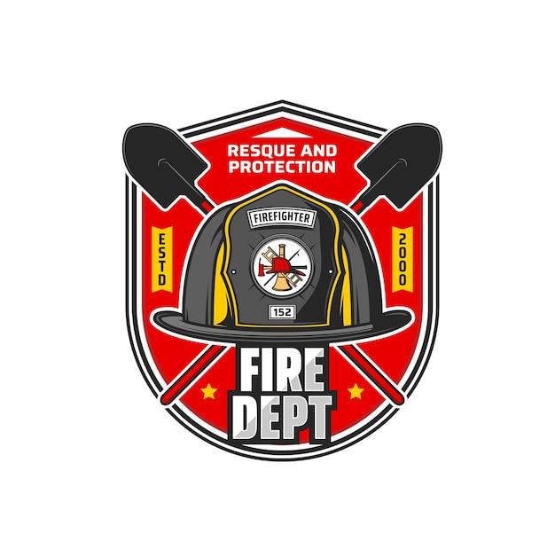 Ikona działu pożarnictwa. straż pożarna, straż pożarna, odznaka vintage wektor lub symbol retro ze skrzyżowanymi łopatami, hełm strażaka z siekierą, drabiną i słupem szczupaka na godło