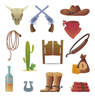 Ikona dzikiego zachodu. cowboys country western symbols saloon boots rodeo lasso cartoon collection