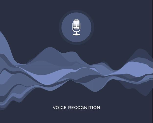 Ikona dźwięku fali rozpoznawania głosu. rozpoznawanie głosu mikrofonu muzycznego w samochodzie lub telefonie.