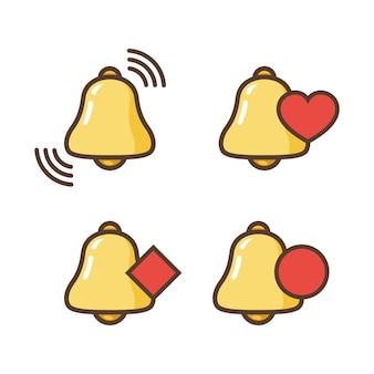 Ikona dzwonka powiadomienia. nowa wiadomość. ikony dzwonka o różnym statusie.