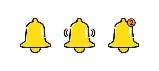 Ikona dzwonka powiadomienia. wiadomość przychodzącej skrzynki odbiorczej. ikona alarmu.