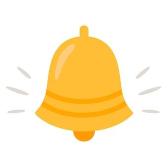 Ikona dzwonka powiadomienia. złoty dzwonek alarmowy drży.