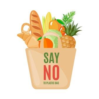 Ikona eco bag z produktami w stylu płaski.