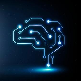 Ikona edukacji technologii ai wektor niebieska grafika cyfrowa