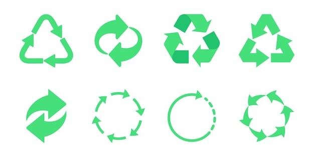 Ikona ekologicznego recyklingu. zestaw ikon strzałek cyklu. ikona kosza. recykling symbol zestawu recyklingu