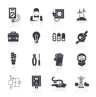 Ikona energii elektrycznej czarny