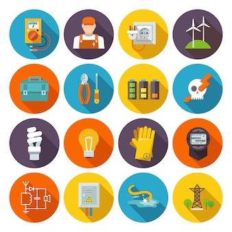 Ikona energii elektrycznej płaski