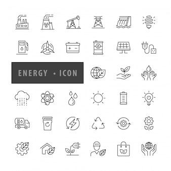 Ikona energii zestaw ilustracji wektorowych,