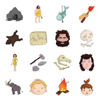 Ikona epoki kamienia ustaw ikonę. ilustracja starożytny wiek. na białym tle kreskówka ustawić ikonę epoki kamienia.