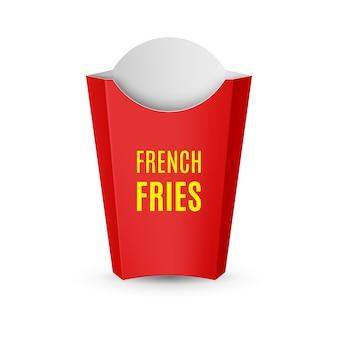 Ikona fast food. puste czerwone opakowanie na frytki do szablonu projektu