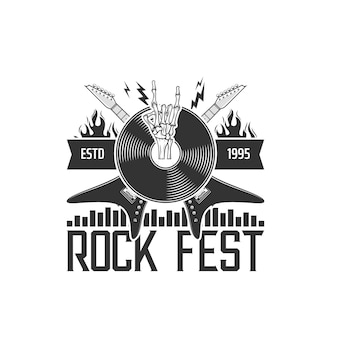 Ikona festiwalu muzyki rockowej, gitary i symbol płyty winylowej