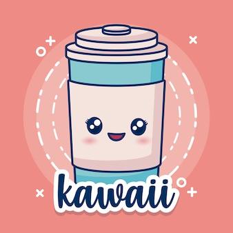 Ikona filiżanki kawy kawaii