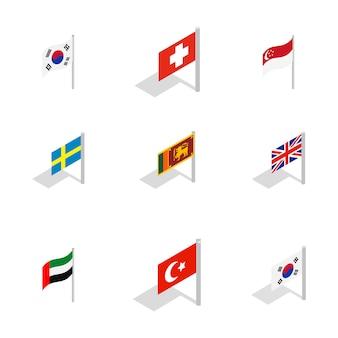 Ikona flagi kraju zestaw na białym tle