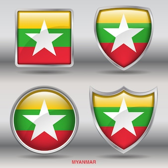 Ikona flagi myanmar bevel 4 kształty