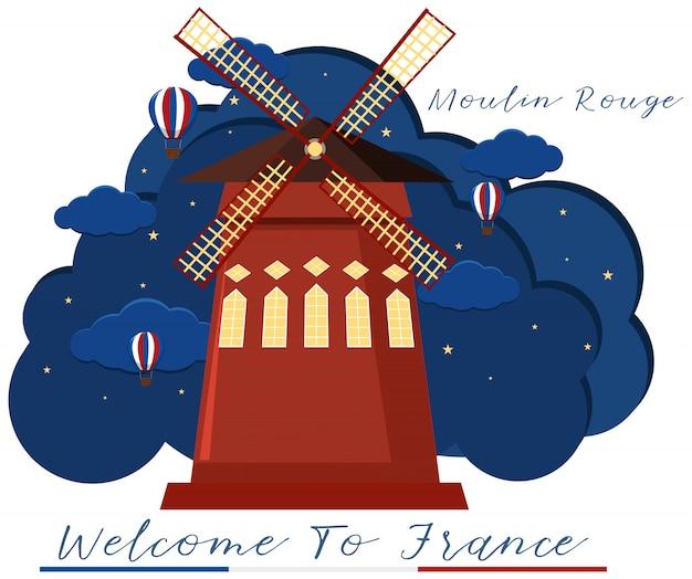 Ikona francuskiego moulin rouge