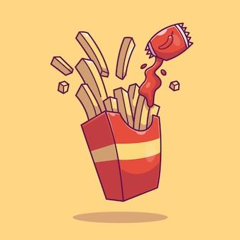 Ikona frytek. kolekcja fast food. ikona jedzenie na białym tle