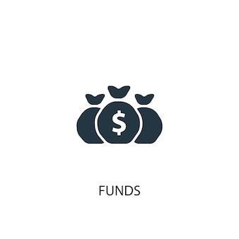 Ikona funduszy. prosta ilustracja elementu. fundusze koncepcja symbol projekt. może być używany w sieci i na urządzeniach mobilnych.