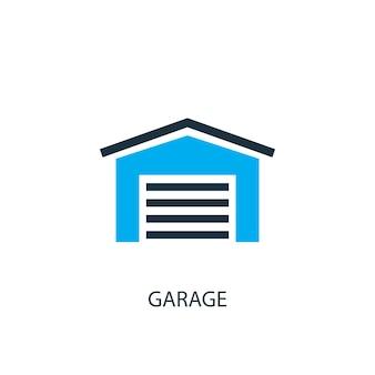 Ikona garażu. ilustracja elementu logo. projekt symbolu garażu z 2 kolorowych kolekcji. prosta koncepcja garażu. może być używany w sieci i na urządzeniach mobilnych.