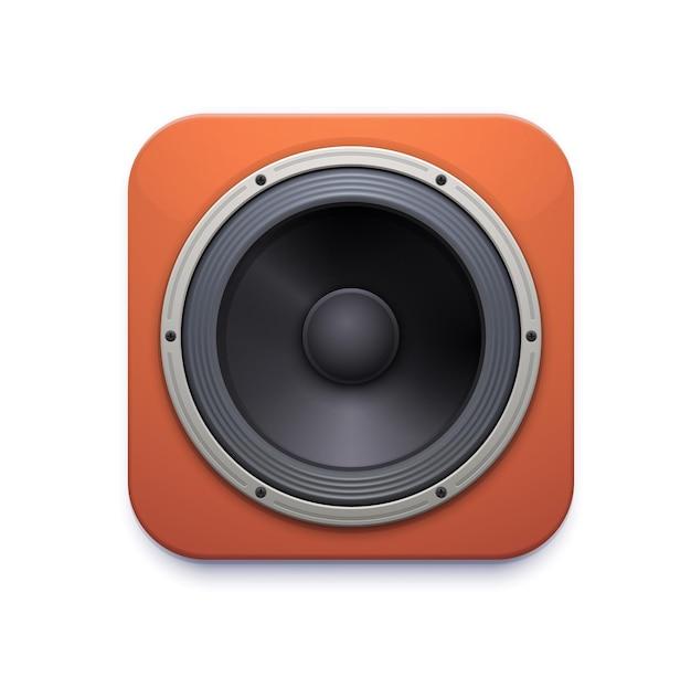 Ikona głośnika dźwięku, system stereo audio lub muzyki, realistyczny głośnik wektorowy. realistyczny głośnik akustyczny lub subwoofer i wzmacniacz radiowy typu boombox, drewniany głośnik