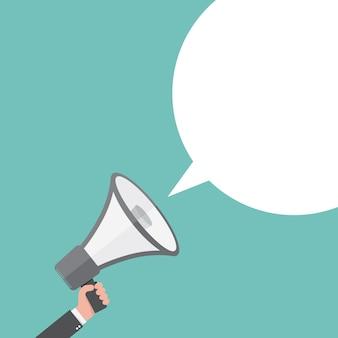 Ikona głośnika lub megafonu. szary megafon w ręku z dymek, na kolorowym tle. ilustracja.